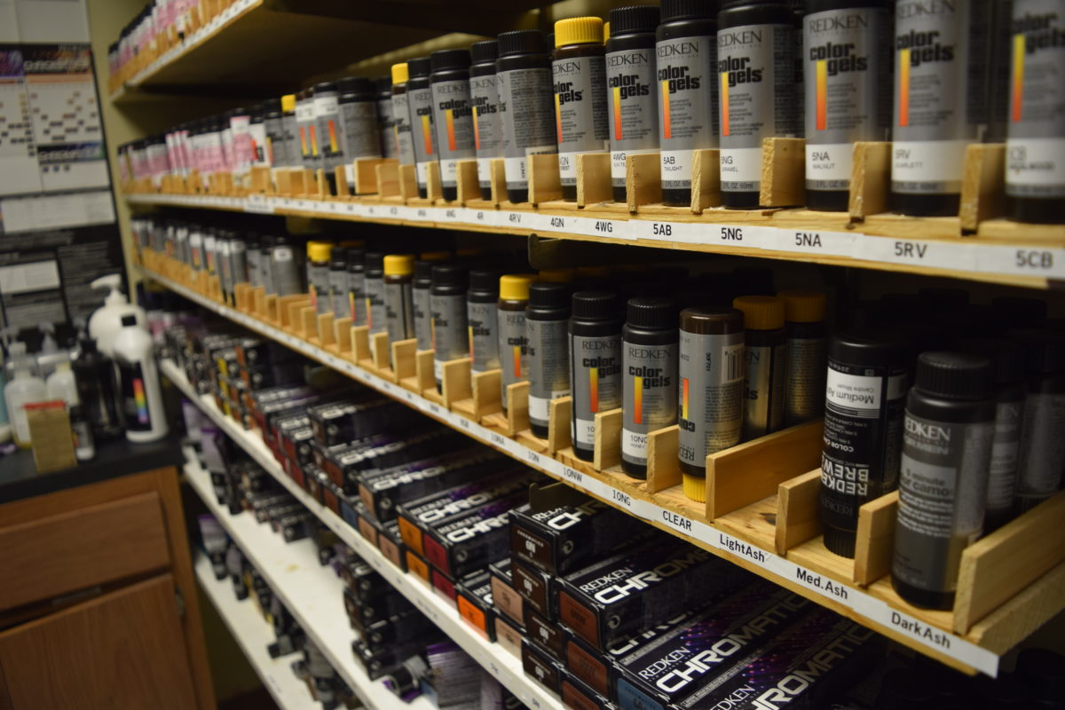 This is a shelf of hair color.